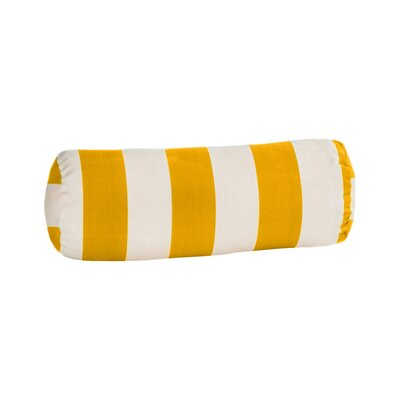 Merrill Outdoor Bolster Pillow Color: Yellow/Off-White