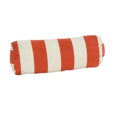 Merrill Outdoor Bolster Pillow Color: Orange/Off-White