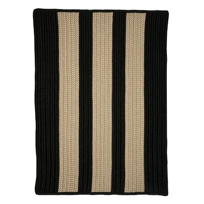 Seal Harbor Hand-Woven Black/Beige Area Rug Rug Size: Square 12