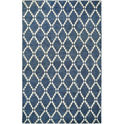 Hallsboro Hand-Woven Sapphire/Ivory Area Rug Rug Size: 2 x 4