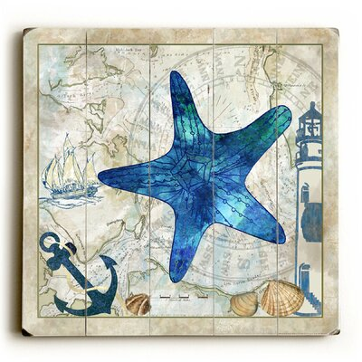 Starfish on Map Graphic Art