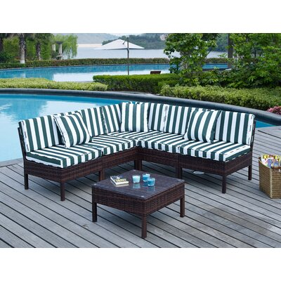 Breakwater Bay Monticello 6 Piece Sectional Seating Group with Cushion