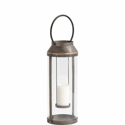 Glass Lantern Size: 25 H x 9 W x 8 D