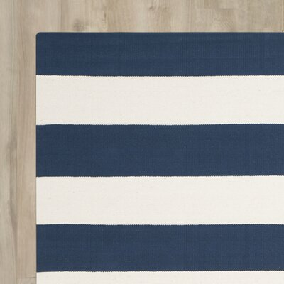 Brookvale Hand-Woven Navy/Ivory Area Rug Rug Size: 5 x 8