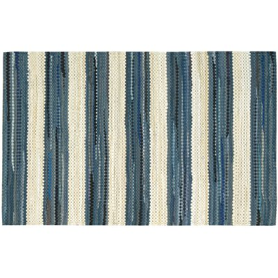 Mayfair Stripe Blue/Cream Area Rug Rug Size: 2'6 x 4'