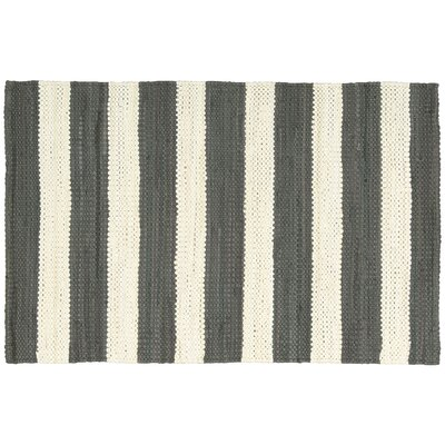 Mayfair Stripe Slate/Ivory Area Rug Rug Size: 2'6 x 4'