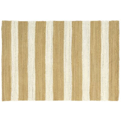 Mayfair Stripe Tan/Cream Area Rug Rug Size: 26 x 4