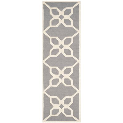 Linden Hand-Tufted Dark Gray / Ivory Area Rug Rug Size: Runner 26 x 8