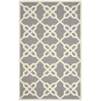 Linden Hand-Tufted Dark Gray / Ivory Area Rug Rug Size: 5 x 8