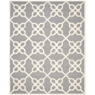 Linden Hand-Tufted Dark Gray / Ivory Area Rug Rug Size: 8 x 10