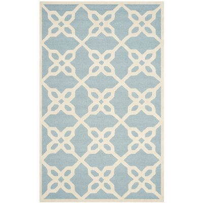 Linden Hand-Tufted Blue / Ivory Area Rug Rug Size: Rectangle 5 x 8