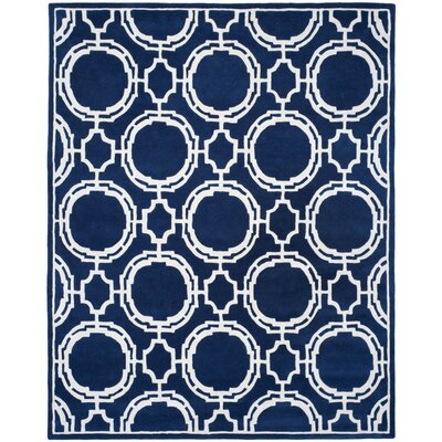 Moraine Hand-Tufted Dark Blue/Ivory Area Rug Rug Size: 4' x 6'