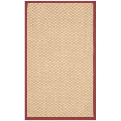 Hillsborough  Beige / Burgundy Area Rug Rug Size: Rectangle 3 x 5