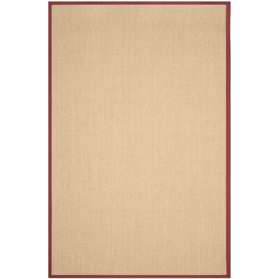 Hillsborough  Beige / Burgundy Area Rug Rug Size: Rectangle 6 x 9