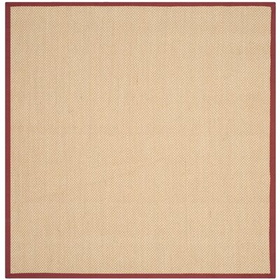 Hillsborough  Beige / Burgundy Area Rug Rug Size: Square 6