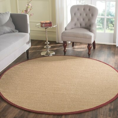 Hillsborough  Beige / Burgundy Area Rug Rug Size: Round 6