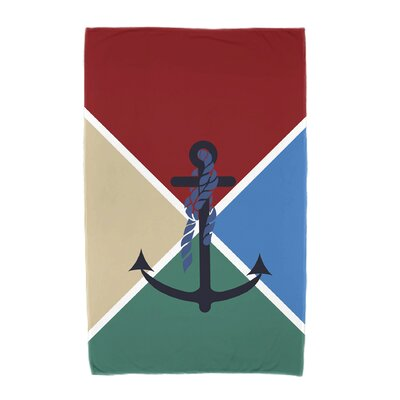 Hancock Anchor Flag Beach Towel Color: Red