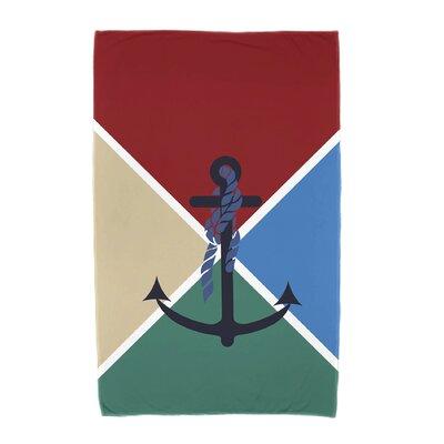 Hancock Anchor Flag Beach Towel Color: Red