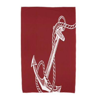 Bridgeport Anchored Beach Towel Color: Red