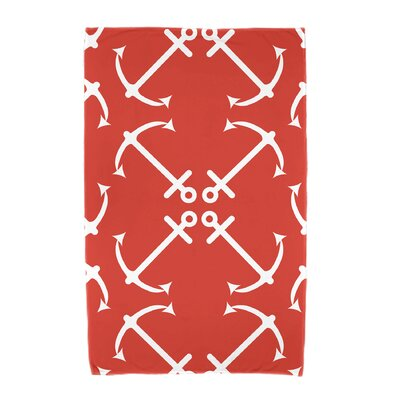 Hancock Anchors Up Beach Towel Color: Orange