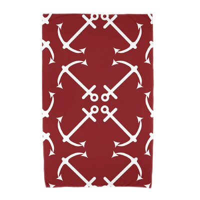 Hancock Anchor's Up Beach Towel Color: Red