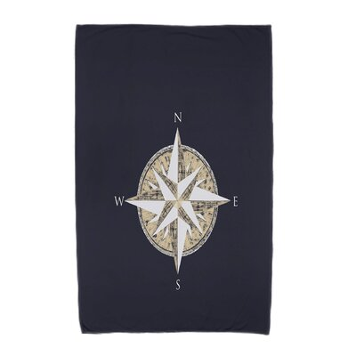Hancock Compass Geometric Print Beach Towel Color: Navy Blue