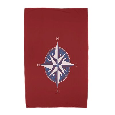 Hancock Compass Geometric Print Beach Towel Color: Red