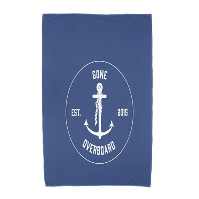 Hancock Gone Overboard Word Print Beach Towel Color: Blue