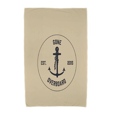 Hancock Gone Overboard Word Print Beach Towel Color: Taupe/Beige