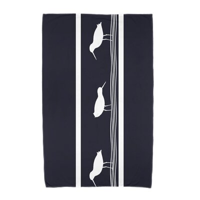 Bridgeport Birdwalk Animal Print Beach Towel Color: Navy Blue