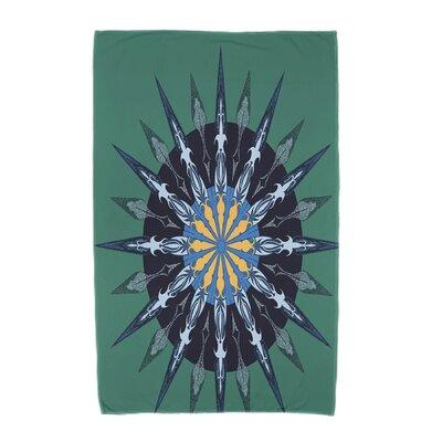 Hancock Sea Wheel Geometric Print Beach Towel Color: Green