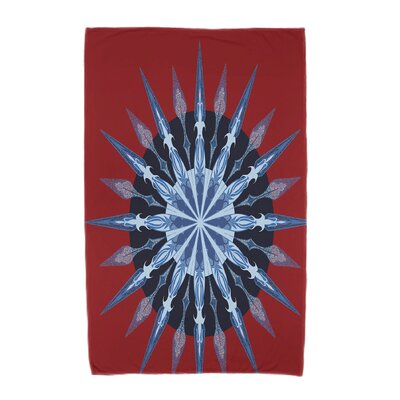 Hancock Sea Wheel Geometric Print Beach Towel Color: Red