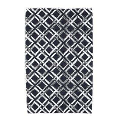 Hancock Rope Rigging Geometric Print Beach Towel Color: Navy Blue