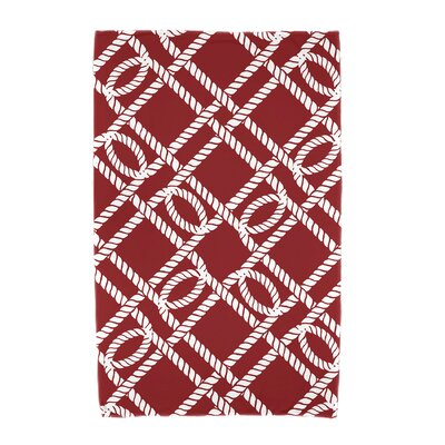 Bridgeport Know the Ropes Geometric Print Beach Towel Color: Red