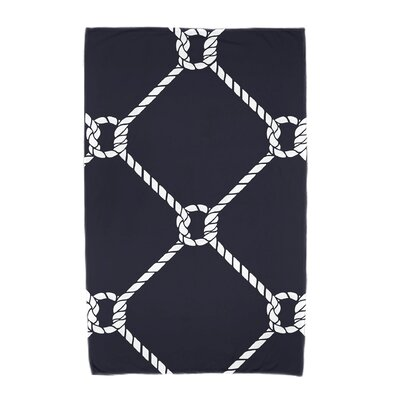 Bridgeport Ahoy! Geometric Print Beach Towel Color: Navy Blue