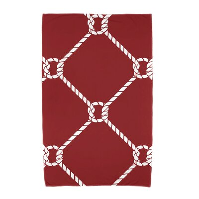 Bridgeport Ahoy! Geometric Print Beach Towel Color: Red