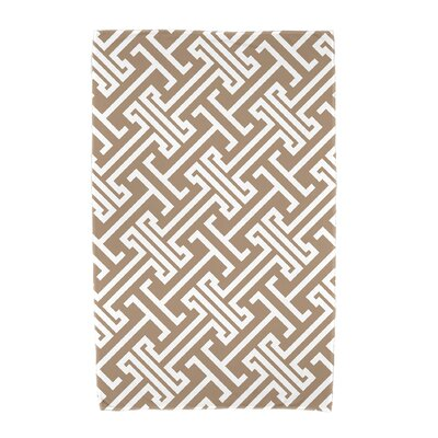 Hancock Leeward Key Geometric Print Beach Towel Color: Beige/Taupe