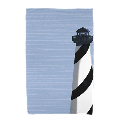 Hancock Light House Geometric Print Beach Towel Color: Black