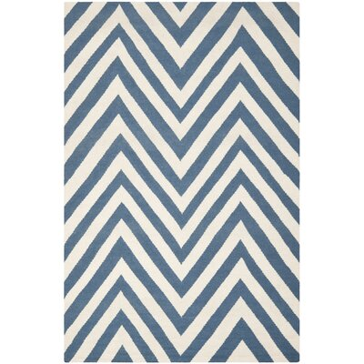 Blaisdell Hand-Woven Blue/Ivory Area Rug Rug Size: Rectangle 5 x 8