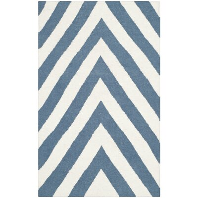 Blaisdell Hand-Woven Blue/Ivory Area Rug Rug Size: Rectangle 3 x 5