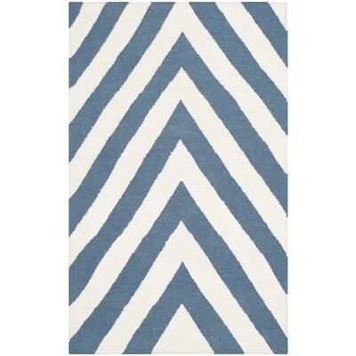 Blaisdell Hand-Woven Blue/Ivory Area Rug Rug Size: Rectangle 26 x 4