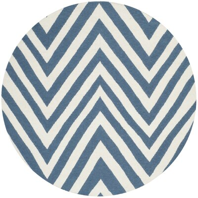 Blaisdell Hand-Woven Blue/Ivory Area Rug Rug Size: Round 4