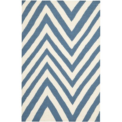 Blaisdell Hand-Woven Blue/Ivory Area Rug Rug Size: Rectangle 4 x 6