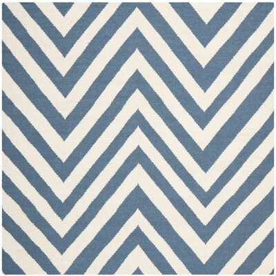 Blaisdell Hand-Woven Blue/Ivory Area Rug Rug Size: Square 6