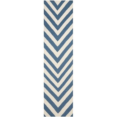 Beacon Falls Hand-Woven Blue/Ivory Area Rug Rug Size: Runner 26 x 6