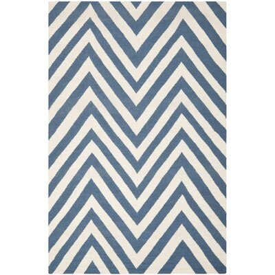 Blaisdell Hand-Woven Blue/Ivory Area Rug Rug Size: 5 x 8