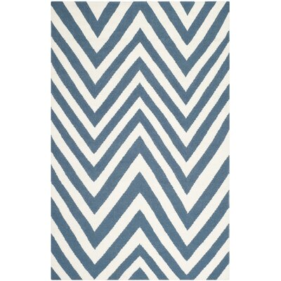 Blaisdell Hand-Woven Blue/Ivory Area Rug Rug Size: 6 x 9