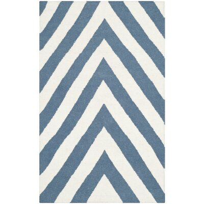 Beacon Falls Hand-Woven Blue/Ivory Area Rug Rug Size: 3' x 5'
