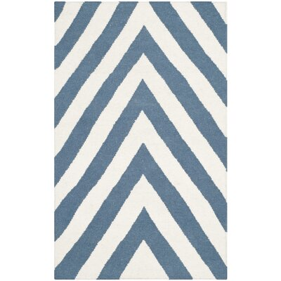 Beacon Falls Hand-Woven Blue/Ivory Area Rug Rug Size: 2'6