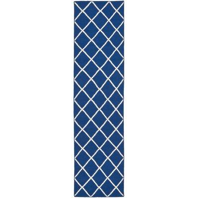 Blaisdell Hand-Woven Dark Blue Area Rug Rug Size: Runner 26 x 8